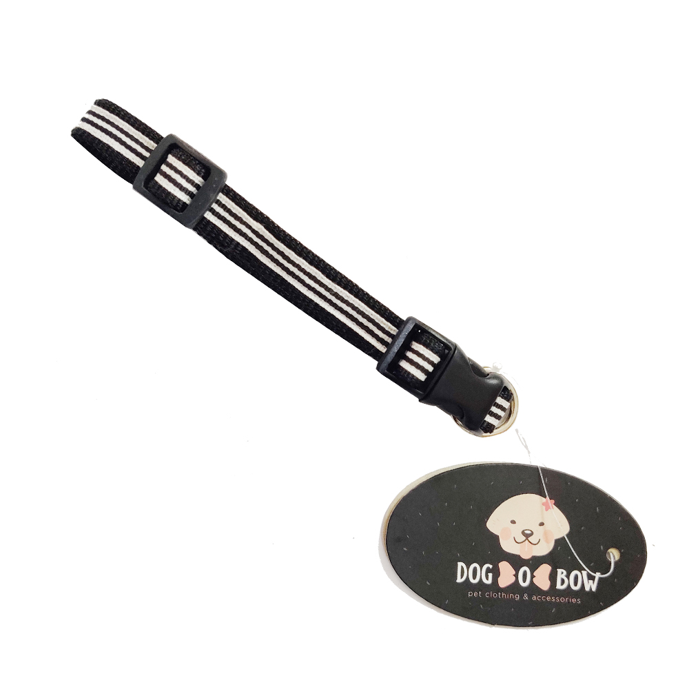 Dog O Bow Black and White Stripe Collar | Small |