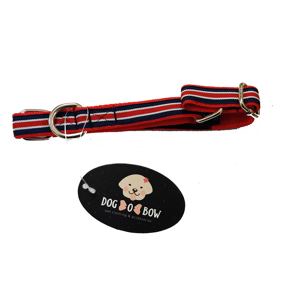 Dog O Bow Blue Stripe Martingale Collar | Small |
