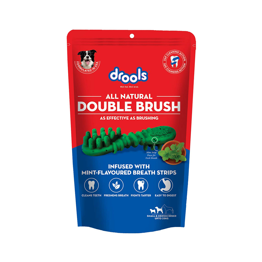 Drools Double Brush Dental Treat | Small/Medium Breed Dogs | 300 GM