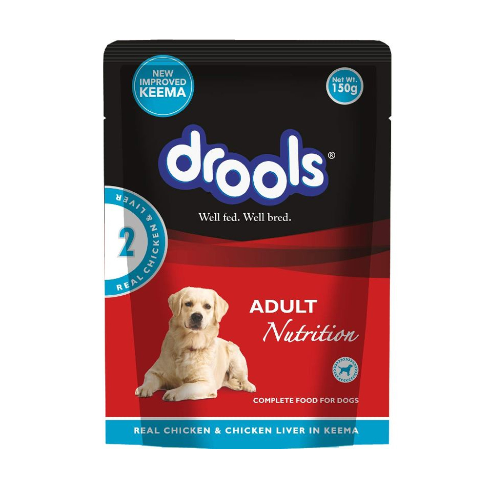 Drools Adult Real Chicken and Chicken Liver Wet Pouch| 80 GM