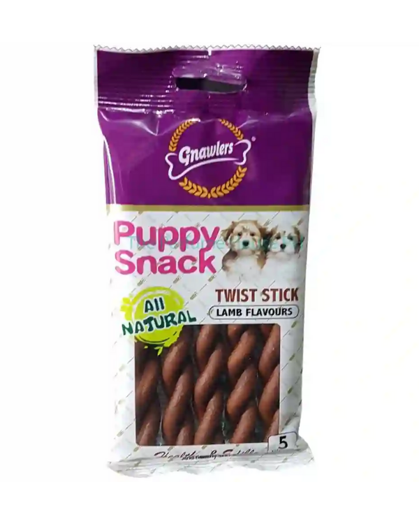 Gnawlers Twisted Stick with Lamb Flavor Puppy Snack | 5 Pcs
