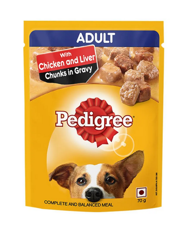 Pedigree Adult Chicken and Liver Chunks In Gravy Pouch | 70 GM