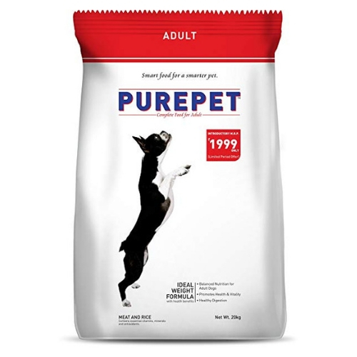Purepet Meat and Rice Adult Dog Dry Food, 17.25 kg