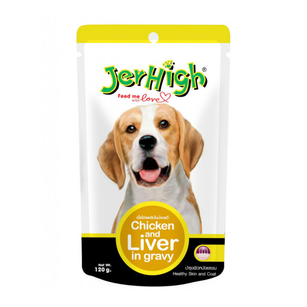 JerHigh Chicken & Liver in Gravy Pouch | 120 GM