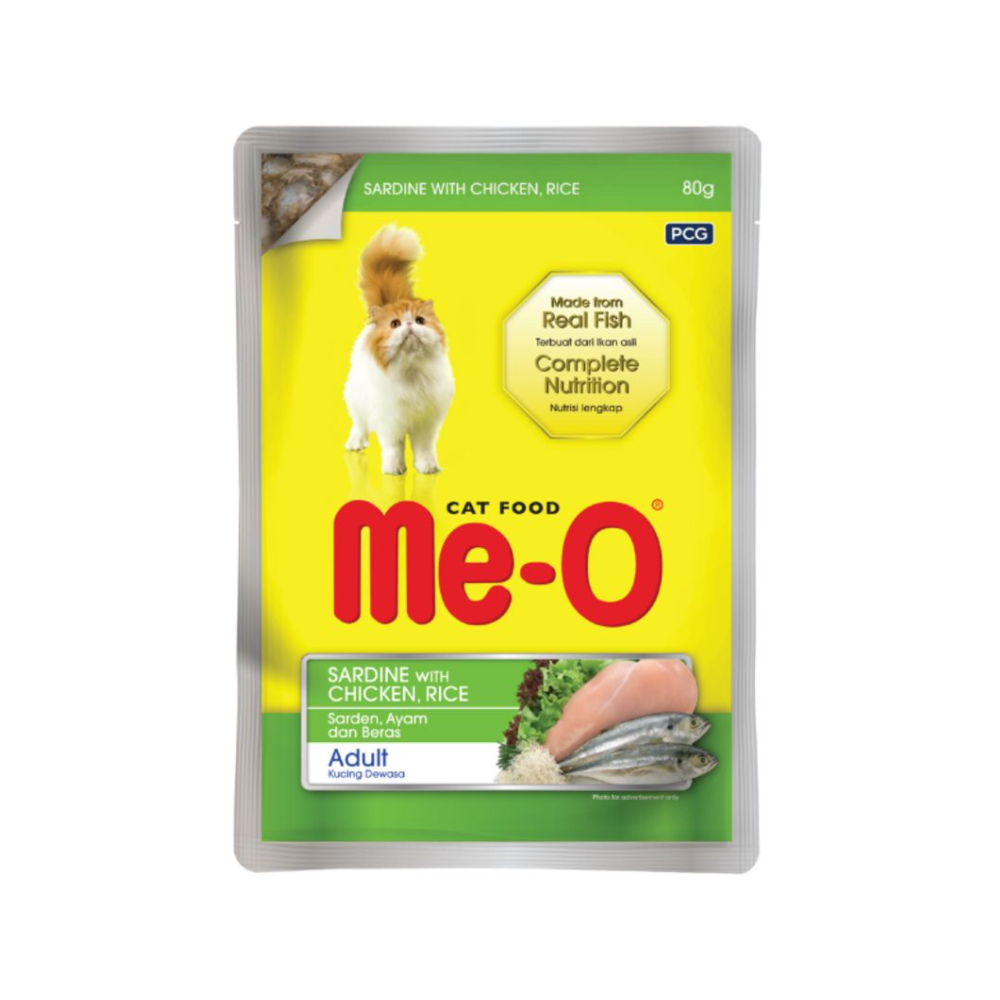Meo Sardine with Chicken Rice Adult Wet Pouch | Multiple Sizes |