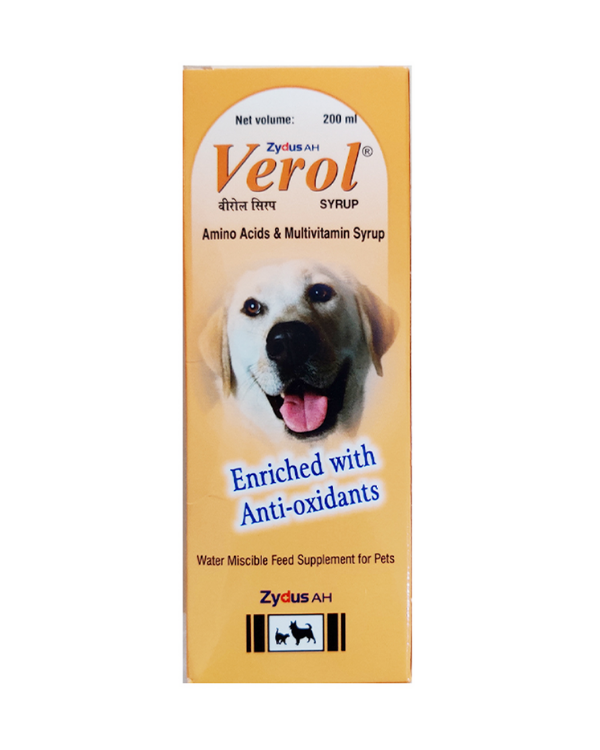 Zydus AH  Verol Multivitamin Supplement Syrup | Dogs and Cats | 200 ML