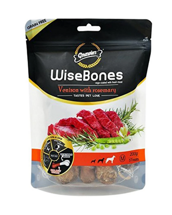 Gnawlers Wise Bones Venison with Rosemary Dog Treat | 200 GM