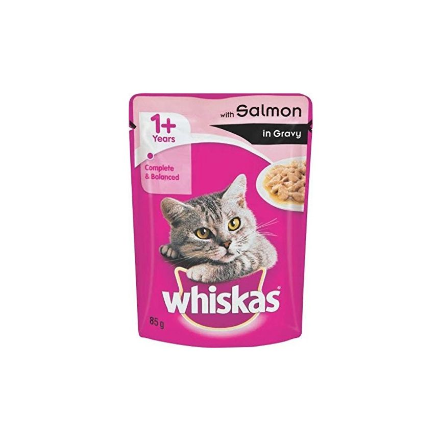 Whiskas Adult (+1 year) Wet Cat Food, Salmon in Gravy, 12 Pouches (12 x 85g)