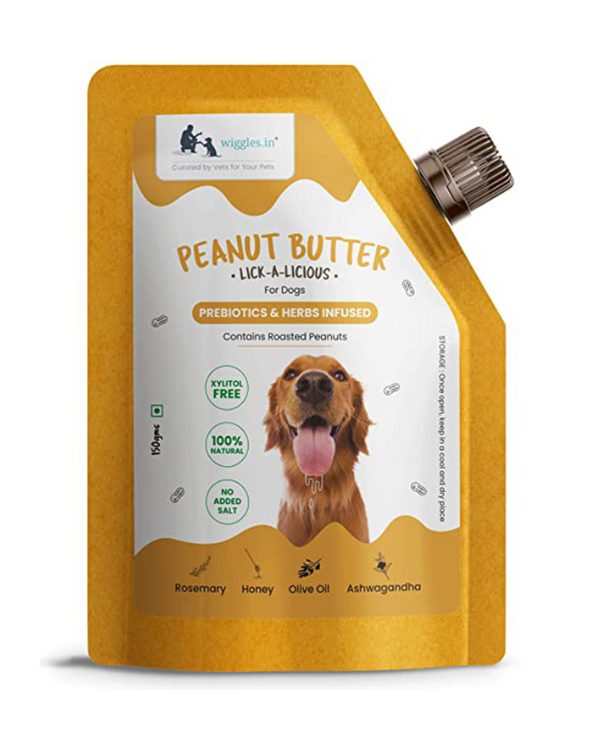 Wiggles Peanut Butter Pouch Treat | Dogs | 150 GM