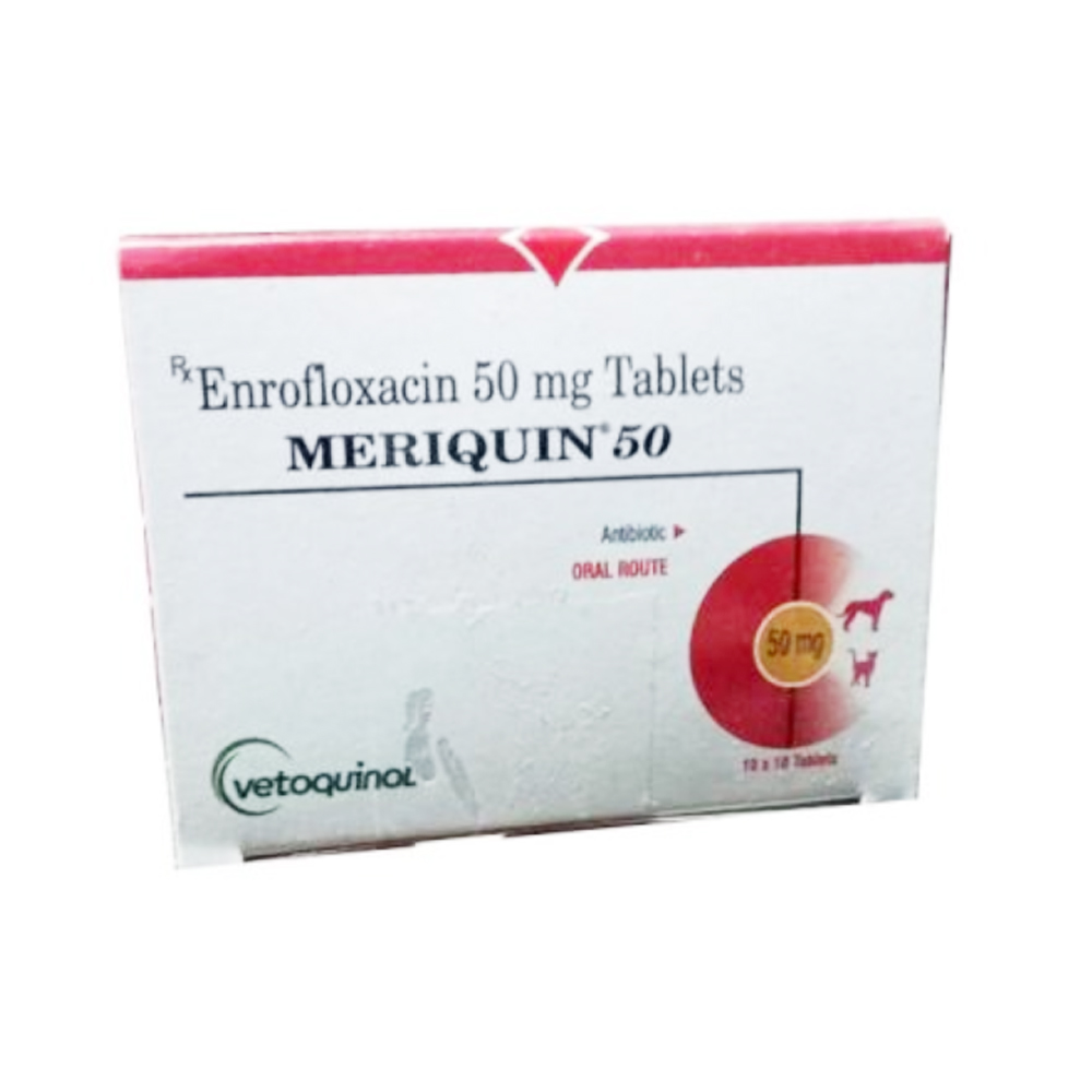 Vetoquinol Meriquin Antibiotic Tablets 50 MG | Dogs and Cats | 10 Tablets