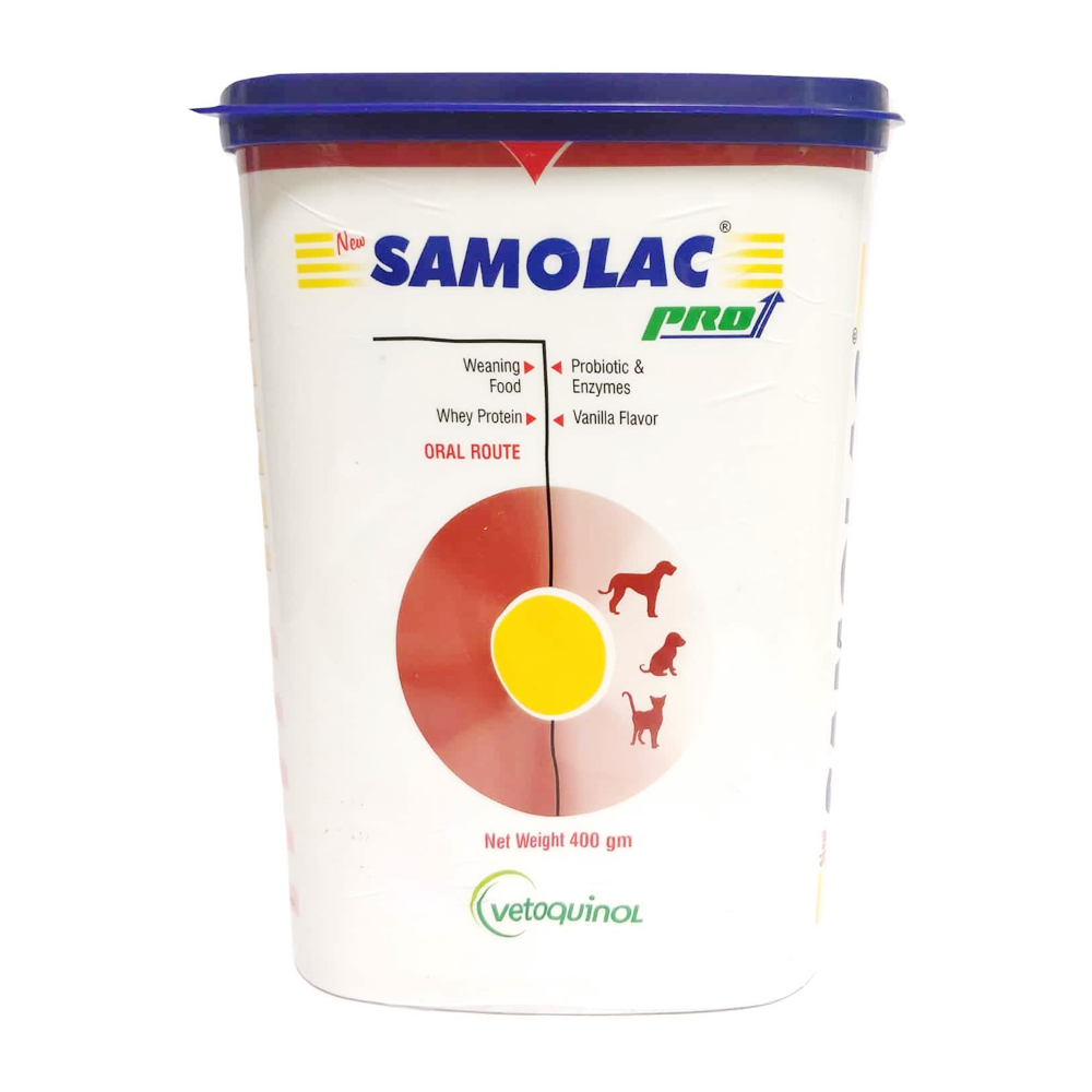 Vetoquinol Samolac Pro Weigh Protein Powder | Dogs ; Puppies and Cats | 400 GM