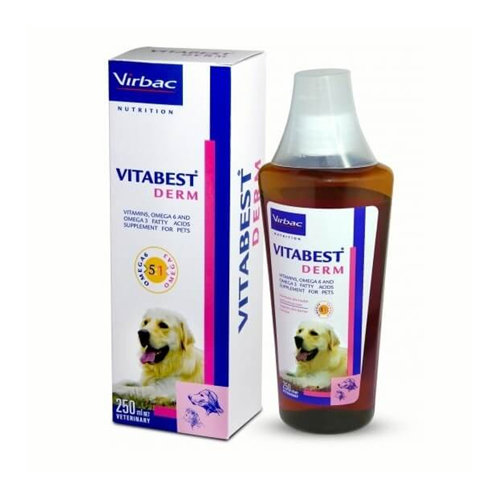 Virbac Vitabest Derm Multivitamin Syrup | Dogs and Cats | 250 ML