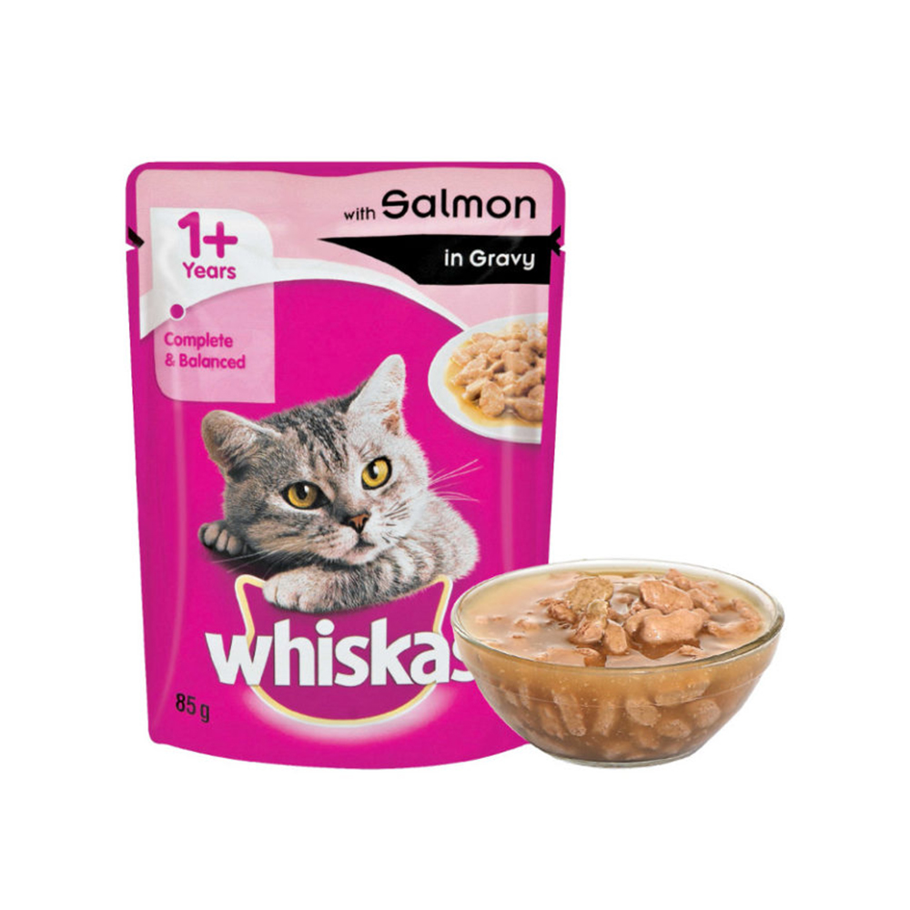 Whiskas Adult Salmon In Gravy Wet Pouch| Multiple Sizes |