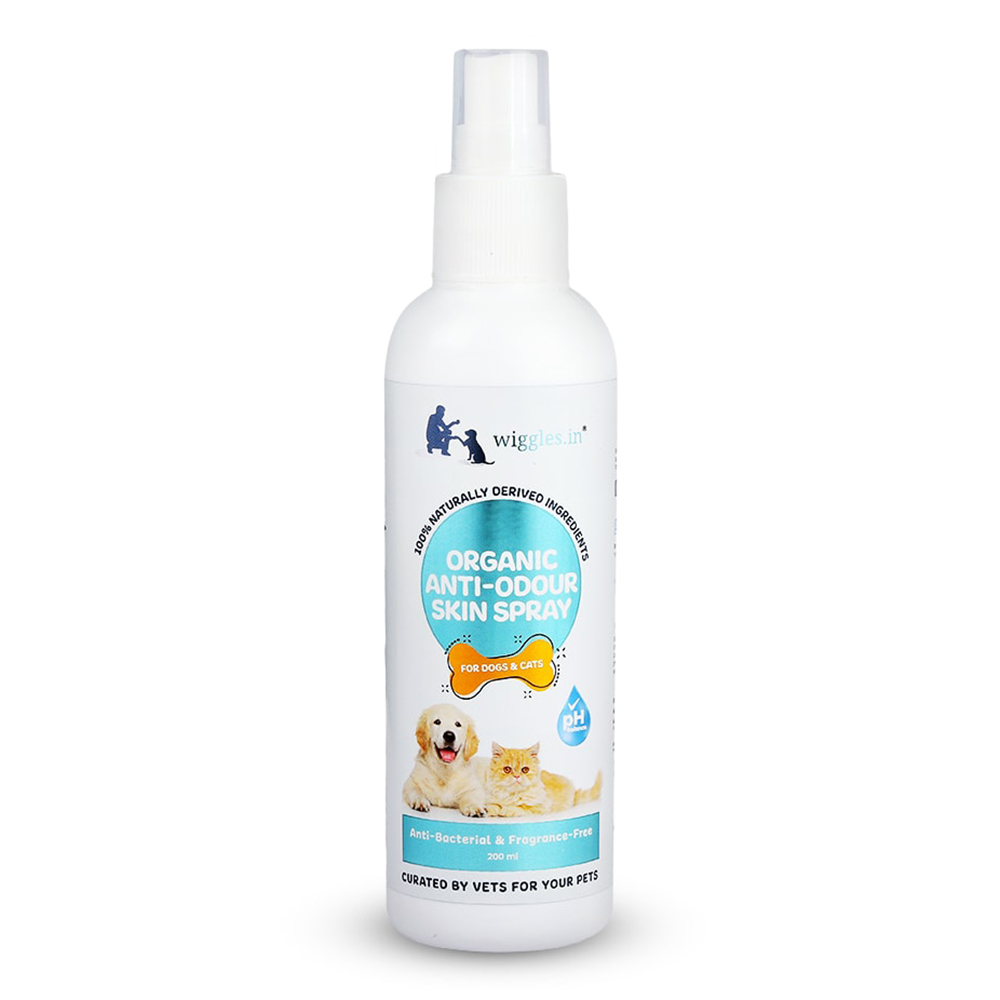 Wiggles Organic Anti-odour Skin Spray - Anti Bacterial & Fragrance Free | Dogs and Cats | 200 ML